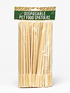 Birdie Lee's Disposable Pet Food Spatulas, Animal Feeding Biodegradable Bamboo Spoons, Planet Friendly Pet Food Servers, Wet Cat and Dog food Spatulas