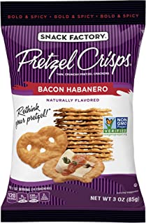 Snack Factory Pretzel Crisps, Bacon Habanero, 3 Ounce (Pack of 8)