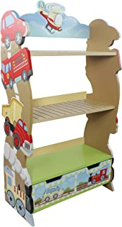 Fantasy Fields Transportation Wooden Kids Bookshelf with Hand Crafted Designs & Toy Storage