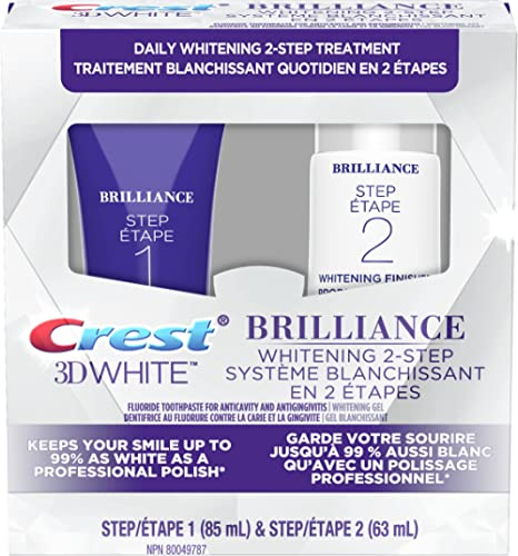 Crest 3D White Brilliance Toothpaste and Whitening Gel 2 Step System - 85 ml and 63 ml Tubes, packaging may vary