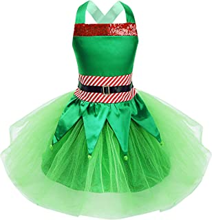 YiZYiF Children Girls' Christmas Elf Costume Holiday Party Sequin Cosplay Dress and Hat Festive Suits