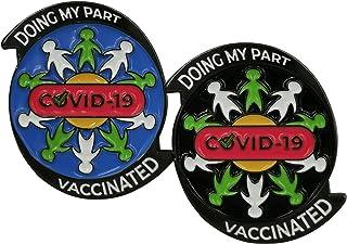 Bellter - Set di 2 spille in metallo, smaltate dure con messaggio di solidarietà: Doing my Part/Vaccinated against Covid-1...