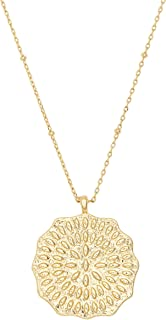 gorjana Women's Mosaic Coin Pendant Adjustable Necklace, 18K Gold Plated Medallion, 19 inch Chain