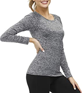 LOK Dry Fit Long Sleeve Workout T Shirts for Women Fitness Yoga Tee Quick-Drying Tops Sports Running Activewear