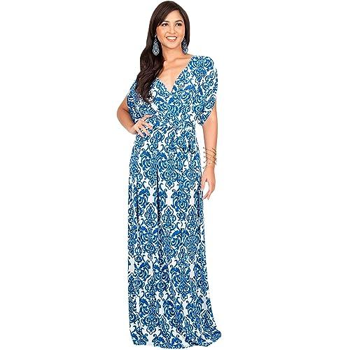 291ca5139054 KOH KOH Womens Long Summer Flowy Short Sleeve V-Neck Printed Gown Maxi Dress