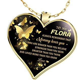 Gifts Necklace Name for Wife to My Flora Always Remember That Mommy Love You! You are Braver Than You Believe for Mom Daughter Jewelry 18K Gold Plated