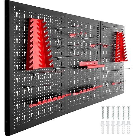 tectake 403559 Tablero perforado para herramientas, Panel metálico con agujeros para pared, Organizador multiusos con soportes, Estantería de almacenamiento portaherramientas