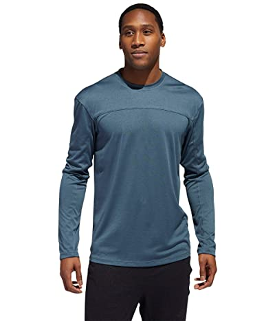 adidas City Heather Long Sleeve Tee (Legacy Blue Melange) Men
