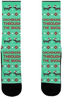 Dachshund Through The Snow Green US Size 7-13 Socks