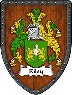 Riley Family Crest Custom Coat of Arms, Family Ancestry and Heritage Hanging Metal Wall Plaque Shield - Hand Made in the USA