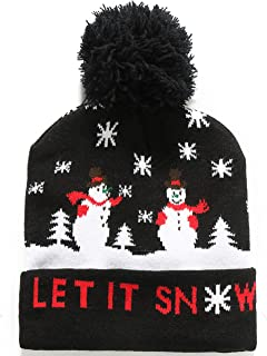 SSLR Adult Fashion Cuffed Knit Ugly Christmas Beanie Hat