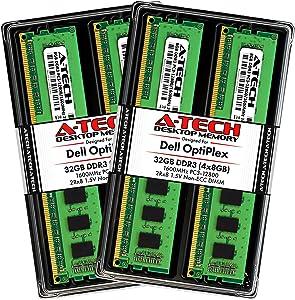 A-Tech 32GB Max RAM Kit for Dell OptiPlex 9020, 9010, 7020, 7010, MT/DT/SFF - (4 x 8GB) DDR3 1600MHz PC3-12800 Non-ECC DIMM Memory Upgrade