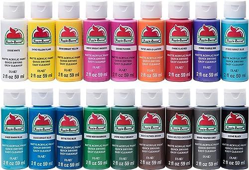 Apple Barrel PROMOABI 18pc Matte Finish Acrylic Craft Paint Set, 2 fl oz / 59 ml, Assorted Colors 1, 18 Count