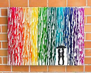 Lesbian Wedding Gift, Rainbow Melted Crayon Art, Gifts For Lesbian Couple, In The Rain Painting 16x20
