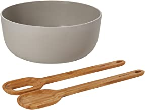 BergHOFF Leo 24cm Bamboo Salad Bowl and Silicone Servers, 3 Piece Set, Grey, 24 x 30 x 6 cm
