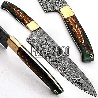 PAL 2000 SNTR-9721 - Cuchillo Damasco de acero damasco hecho a mano, cuchillo de cocina con estuche.