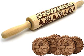 Amomo Christmas Embossed Rolling Pins Wooden Engraved Rolling Pin with Chiristmas Deer Pattern for Baking Embossed Cookies Kitchen Tool