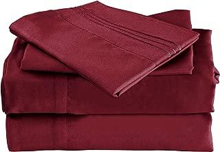 Mutlu Home Goods Bed Sheet Set - Double Brushed Microfiber Luxury Bedding - Deep Pockets, Hypoallergenic, Fade, Wrinkle, Stain Resistant - 4 Piece, Queen, Burgundy