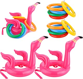 WATINC 12 Pack Inflatable Flamingo Ring Toss Game, Flamingo Head Target Toss Express Inflatable Set, Perfect for Pool Part...