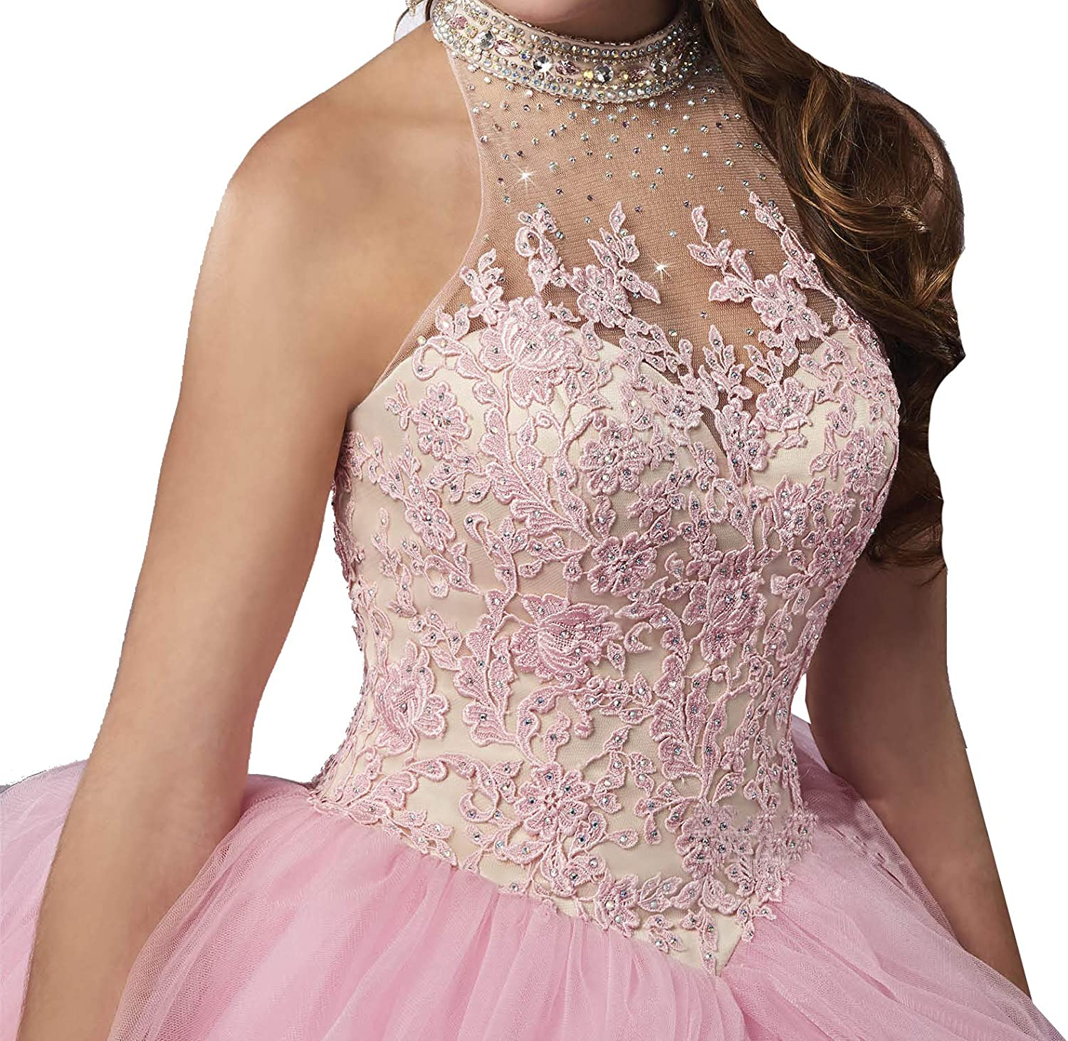 TuanYuany Women High Neck Beaded Ball Gowns Girls Quinceanera Dress with Jacket