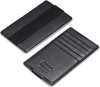 Leather Audi Car Sun Visor Card Holder with Elastic Band Fastener - Italian Calfskin
