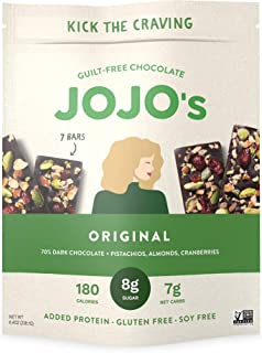 JOJO's Original Guilt-Free Chocolate, Pistachios, Almonds, Cranberries, and Plant Based Protein - 8.4oz Bag(7 Bars) I Low ...
