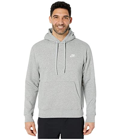 Nike NSW Club Hoodie Pullover (Dark Grey Heather/Matte Silver/White) Men