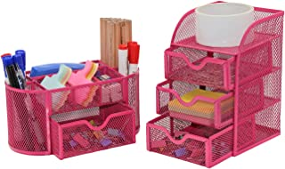 PAG Office Supplies Desktop Organizers and Accessories Storage Caddy with Drawer Mesh Pencil Holder Set for Women Girls, R...