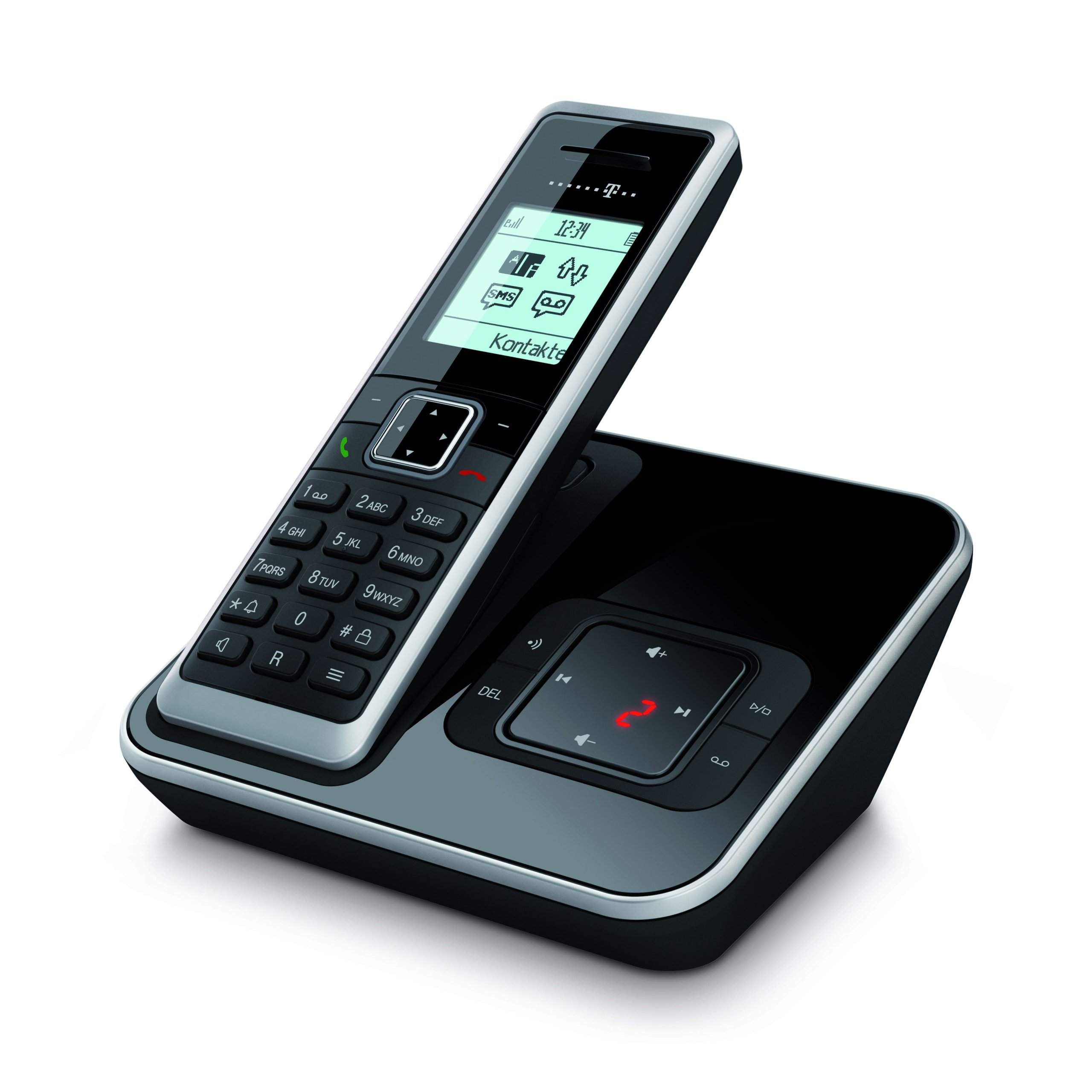 Telekom Sinus A206 - Teléfono inalámbrico (DECT, GAP), color negro y plateado: Amazon.es: Electrónica