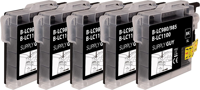 SupplyGuy 5 Cartuchos Compatible con Brother LC-985 Negro para DCP-J125 DCP-J140w DCP-J315w DCP-J515w MFC-J220 MFC-J265w MFC-J410 MFC-J410 Series MFC-J415w