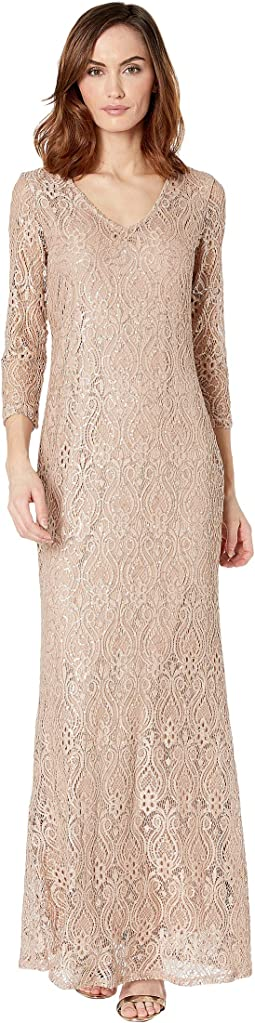 Slim 3/4 Sleeve Lace Dress with V Front/Back Neckline