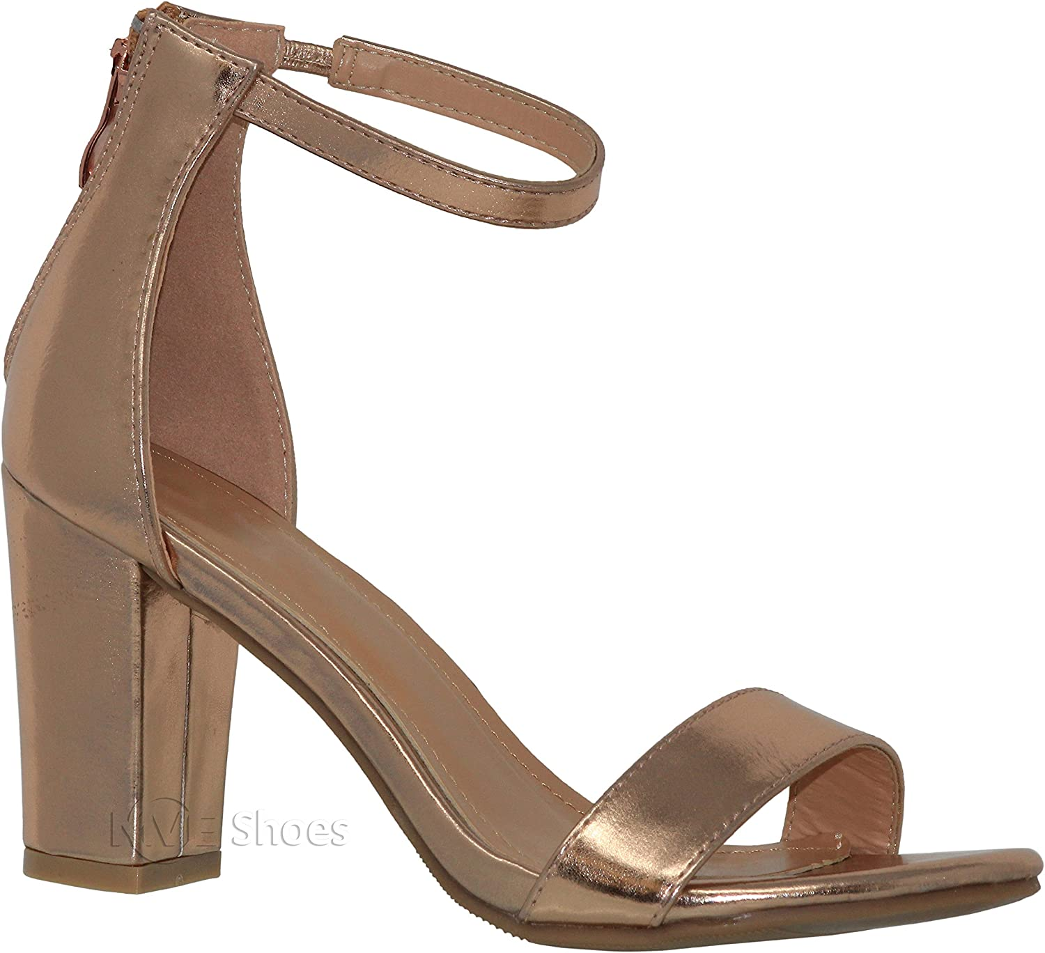 MVE shoes Women's Sandal - Chunky Block Heel Ankle Strap -Open Toe Summer Dress shoes