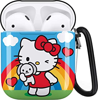 Cute Hello Kitty Aripiod Personalise Custom, AirPod Case Cover Compatiable with Apple AirPods 1st/2nd,Full Protective Shockproof Drop Proof Protective Case Cover with Keychain/Neck Running Strap