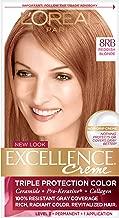 L'Oreal Paris Excellence Creme Permanent Hair Color, 8RB Medium Red Blonde 3 Count