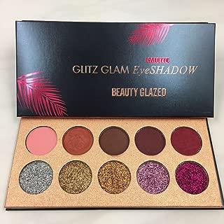 10 Colors Glitz Glam EyeShadow Palette, 5 Matte Autumn Brown Color + 5 Golden Sliver Glitter Eye Shadow