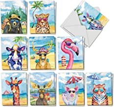 Animal's Day Off - Box of 20 Blank Animal Cards with Envelopes (4 x 5.12 Inch) - Fun Painted All Occasion Note Card Set - Assorted Zoo, Wildlife, Cards for Kids (10 Designs, 2 Each) AM6670OCB-B2x10