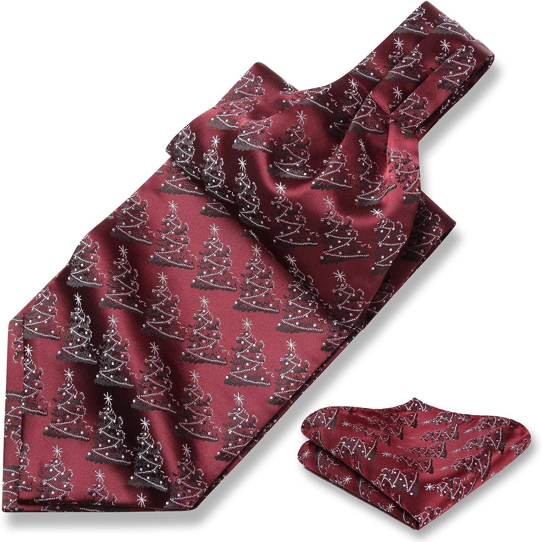 HISDERN Christmas Cravat and Pocket Square Jacquard Woven Mens Ascot Tie /& Handkerchief Set for Festival