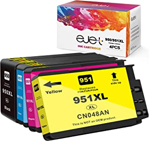 ejet Compatible Ink Cartridge Replacement for HP 950XL 951XL 950 XL 951 XL to use with 8600 8610 8615 8100 8620 8630 8640 8625 251dw 276dw (1 Black,1 Cyan,1 Magenta,1 Yellow, 4-Pack)