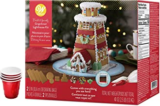 Gingerbread Lighthouse Decorating Kit, Build-it-Yourself Unassembled - Includes House Panels, Icing, Fondant, Candies, 4 Candy Cups, Colorful Presentation Board