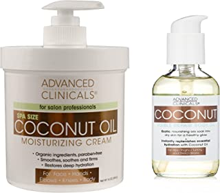 Advanced Clinicals Coconut Oil Body Cream and Coconut Body oil skin care set for men and women. Large 16oz cream for face ...