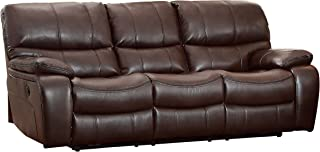 Homelegance Pecos Leather Gel Power Double Reclining Sofa, Brown