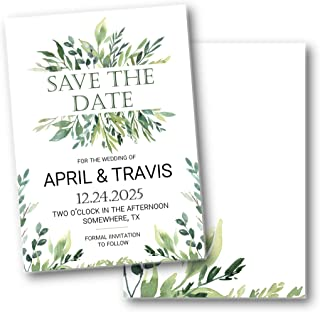 Greenery Foliage Botanical Wedding Save the Date with envelopes