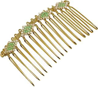 Tessitura pettine diamante perline Giappone verde luminoso beige oro capelli doni Natale amici compleanno matrimonio cerim...
