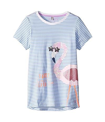 Joules Kids Astro T-Shirt (Toddler/Little Kids/Big Kids) (Blue Stripe Flamingo) Girl