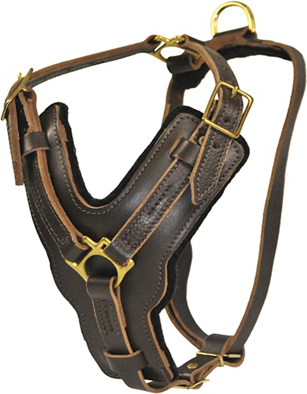 Dean and Tyler The Victory Solid Brass Hardware Dog Harness, Brown, Large  Fits Girth Size  31Inch to 41Inch