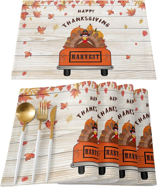 Placemats Set of 6 Table Turkey Bir Thanksgiving Free Shipping Cheap Bargain Gift Truck depot