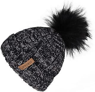 FURTALK Kids Winter Faux Fur Pom Pom Hat Toddler Boys Girls Kids Knitted Beanie Hat (Ages 1-8)