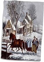 3dRose Vintage Currier and Ives Horse Drawn Sleigh Winter - Towel, 38cm by 60cm