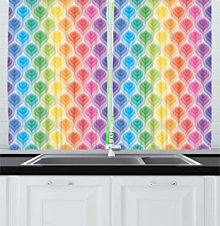 Ambesonne Trippy Decor Kitchen Curtains by, Rainbow Colors Abstract Gradient Toned Leaf Pattern Digital Soft Pastel Design, Window Drapes 2 Panels Set for Kitchen Cafe, 55W X 39L Inches, Multi