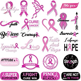Konsait 96pcs Breast Cancer Awareness Tattoos/Pink Ribbon Tattoos/Temporary Face Tattoos Stickers/Survivor/Walk/Run/Football Team/Fundraising Favors /Party Favors Supplies/Fight Tattoos